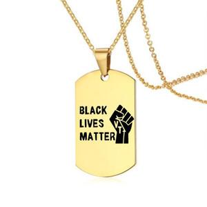 Yeni protesto siyah hayatlar kadın erkek moda caeved ingilizce harfler köpek etiketi kolye kolye takı hediye için paslanmaz çelik kolye önemli