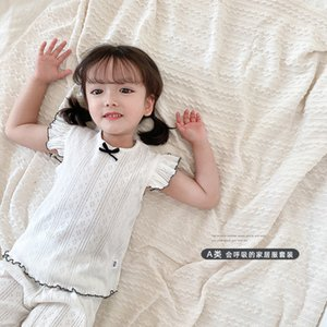Children household pajamas thin summer suit girls short sleeve tops and shorts two piece sets