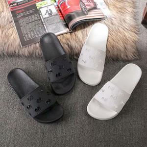 2019 Männer Frauen Slide Sandalen Schuhe Luxus Slide Summer Fashion breite flache Slippery mit dicken Sandalen Slipper Flip Flops