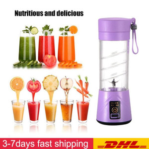 DHL Ship Portable USB Electric Fruit Juicer Handheld Vegetable Juice Maker Blender Rechargeable Mini Juice Making Cup With Charging Cable
