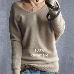 2019 Primavera Outono Cashmere Sweaters Mulheres Moda Sexy V-Neck Sweater soltas 100% Wool Sweater Batwing Sleeve Plus Size pulôver LY191225