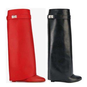Uzun çizmeler% 100 sığır derisi Yüksek topuk çizmeler lüks kadın Yüksek ayakkabı Tasarımcı Bayan ayakkabı Deri Moda Çıplak botları Büyük boy 35-42 41 fermuar