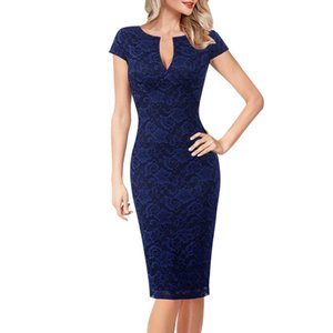 Vfemage Womens Sexy Elegant Floral Print Lace Solid Vintage Slim Casual Cocktail Party Fitted Sheath Pencil Bodycon Dress 1040 MX200518