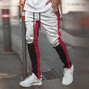 Calças dos homens Motocross Trackpants Slim Fit cintura elástica Striped Duplo Bottoms retro dos homens Sweatpants Moda de Nova