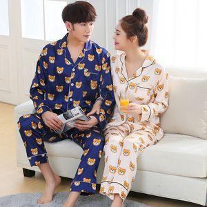 زوجين ملابس نوم نسائية كاملة كم الحرير الحرير بيجامة مجموعات كارتون الدب زوجين منامة للنساء ملابس خاصة مجموعات بيما