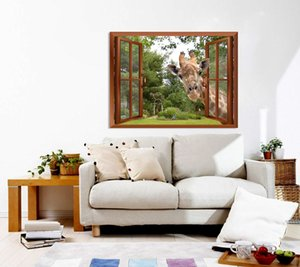 3D Fake Window Windows Giraffe Effect Sticking Decal Window Removable Head Curious View Wall Stickers Into Wall Its Sties