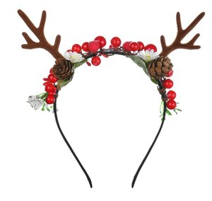 New fashion hot red antlers Christmas headband Nut headband DIY foam fruit headband Christmas Decorations