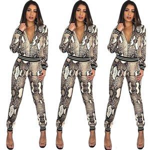 Дизайнер Женская одежда 2 шт. брюки змеиной кожи печати леопарда куртки карандаш леггинсы брюки две части наряды мода тонкий спортивный костюм
