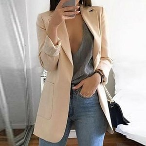 Casual Mid Trench nuove donne risvolto Slim cardigan esterna Work Suit Giacche donne causali Blazer
