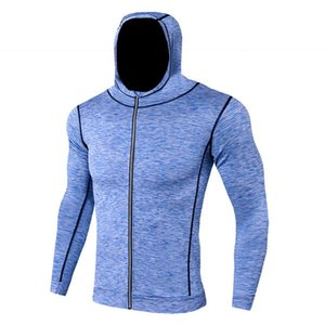 2019 gym new Fast-drying jacket Men's tight breathable warm running clothes Fitness clothes Long-sleeved Guard gym hoodies Long sleeves