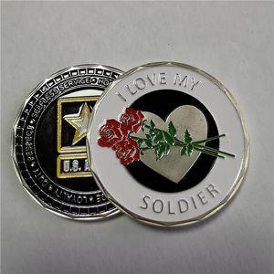 SFIDA MONETA esercito degli Stati Uniti Io amo il mio SOLDATO LEADERSHIP VALORI di trasporto 10pcs / lot SUPPORTO MONETA LIBERA E NUOVISSIMO FITTED COIN
