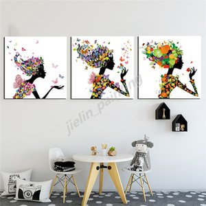 Birthday Gift Paintings Girl With Flowers On Head Nordic Style Poster Print Minimalist Wall Art Canvas Landscape Picture Home