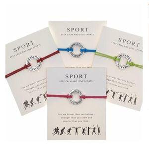 Nouveau wrap bracelet souhait sportif avec Bangle charme gymnastique de hockey de football carte cadeau de volleyball baseball de basket-ball pour femmes Bijoux pour hommes