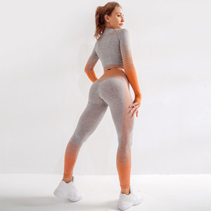 Women Seamless Yoga Sets Sport Suits Gym Workout Clothes Long Sleeve Fitness Crop Top + High Waist Seamless Leggings Yoga Sets Y200601