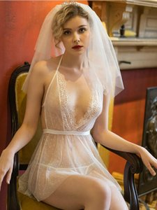Branco Gauze Nightgown nupcial Francês Sexy Lingerie Temptation Lace Womans Sleepshirt Nightdress See-through Vestido Noite