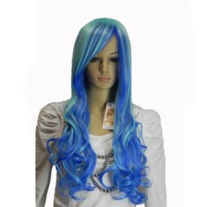 Longo Ondulado Roxo Laranja Roxo Branco Cabelo Sintético das Mulheres peruca cosplay Perucas de festa de Halloween