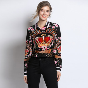 Yeni Varış Bahar Bluzlar Kadınlar 2019 Moda Tasarımcıları Uzun Kollu Çiçek Baskı Bayan Tops ve Bluzlar Zarif Ofis Gömlek