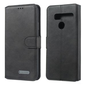 Para LG G8 / G8s / G8 thinq Sólidos Bolsa em couro flip Cor Buckle horizontal com carteira titular do cartão Slots