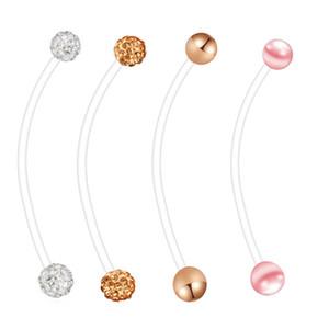 Grossesse Navel Ring Nombril flexible Anneaux Bioplast longue Belly Anneaux Body Piercing Bijoux Mix 4 Styles 80pcs