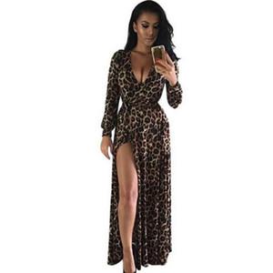Вечеричные платья женские сексуальные повседневные платья повязка Boho Maxi V шеи вечером осень женские леопардовые днище щель длинные рукава платье