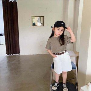 Été 2020 nouvelle lettre brodée T-shirt + pantalon ceinturé costume premières pour enfants occasionnels