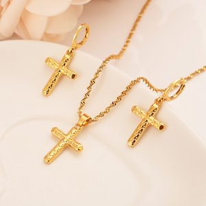 gold small cross Pendant Necklace chain Earrings sets Jewelry Gold Christian jewelry sets for women girl Best Jesus Gifts