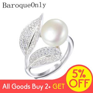BaroqueOnly Романтичный и Shiny Leaf Ring 9-10мм белый розовый синий фиолетовый пресной воды жемчужина кольцо Лучший День матери подарок для женщины