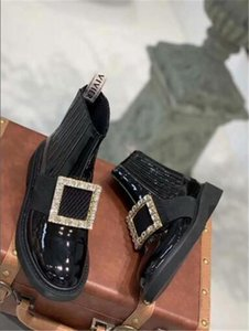 Metal diamond buckle short tube thick bottom bare boots 2019 early autumn new simple generous all match fashion women s winter boots