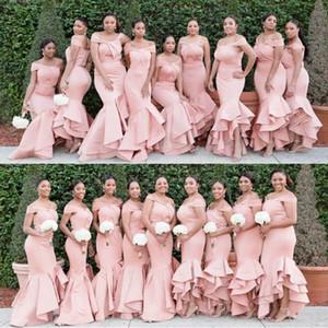 Rosa Mermaid kaskadierenrüsche-Schichten Lange Brautjungfernkleider 2020 weg von der Schulter Hallo Lo Günstige Abendkleid Trauzeugin Abendkleider