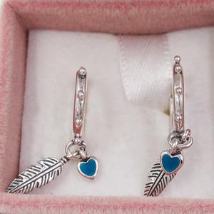 Autentico Argento 925 viti prigioniere delle piume spirituali ciondola gli orecchini, smalto turchese Adatto europea Pandora Stile Studs Jewelry 297205EN