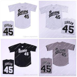 남성 버밍햄 바론 뉴저지 마이클 신인 선수 45 화이트 그레이 블랙 야구 저지 더블 스티치 이름과 번호의 주식 무료 배송