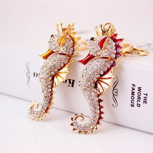 Holder Sea Horse Portachiavi Ciondolo Catene dello smalto del Rhinestone di cristallo animale di modo chiave auto bag anello di fascino monili delle donne