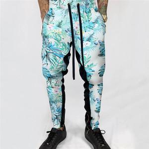 Uomini Hawaiian pantaloni della tuta casuale elastico stampato Pantaloni felpati Hip Hop Hip Hop pantaloni strappato Slim High Street Pantaloni U6
