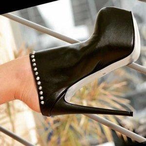 DiJiGirls Slip-on 16 cm Heel Black Punk Pumps Female Platform Shoes Super Stiletto Lesther Rivet High Heels Woman Retro Slipper Y200702