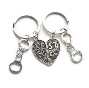 Vintage Silver Heart Best Friend Handcuff Keychain Set Punk BFF Friendship Key Ring For Keys Car Bag Key Chain Handbag Couples Gifts Jewelry