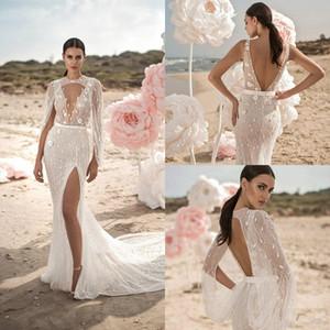 Berta sirène mariage robes avec Wrap dentelle 3D Floral Applique perles Robe de mariée vestito da sposa fendus Boho robe de mariée 4400