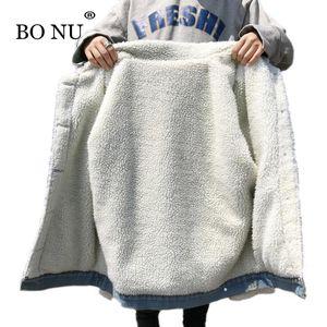 BONU Lamm-Pelz-Jeansjacke Herbst Winter Frau Jean Parka Street Thick Female Jacke Langarm Mantel Weibliche Bomberjacke SH190930