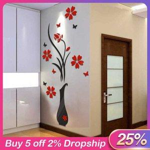 Кабинет наклейки 3D цветок стикер стены дерево домашнего декора DIY ваза цветок дерево кристалл Arcylic наклейки деколь домашнего декора # 28