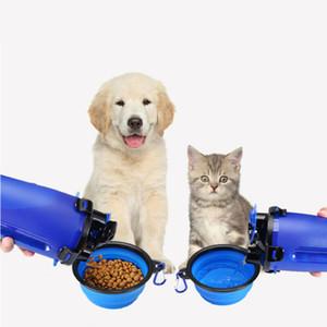 Dog Cat Food idrico Doppio-uso Silicone Coppa Bottle Folding Bowl Out portatili le forniture di viaggio mangiatoia per animali domestici potabile Alimentazione Cup