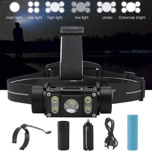 BORUiT Super Bright L2 LED Headlamp Type-C Rechargeable Lantern Waterproof Portable Tactical Camping Head Torch Light