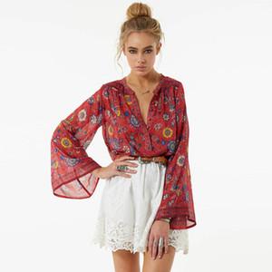 Jastie Oansatz Lang Flare Ärmel Blusen Boho Menschen Hippie Frauen Top Rot Blumendruck Shirts Chic Y19071201
