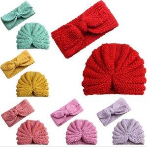 Bebek Bere Tavşan Kulak Kafa Kız Yün Örgü Şapka hairbands Kış Kafatası Çocuk Tığ Cap Açık Hat Şapka Aksesuarlar C6825 Caps
