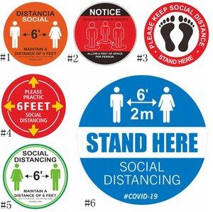 PVC wasserdichte Fußboden-Aufkleber Markierungsband Halten Sie Abstand 6Ft Boden Sozial Entfernung Aufkleber EEA1776 Zeichen
