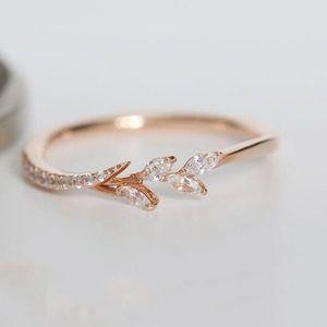 Delicato piccolo oliva foglie anelli per le donne in oro rosa colore intarsiato zircone anelli di nozze coppia promessa gioielli anelli mujer