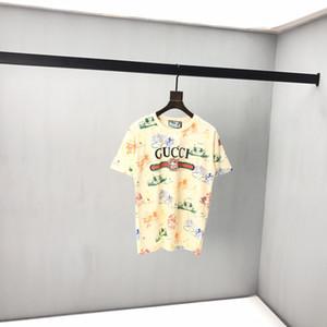 2020 Itália primavera e no verão coberto com impressão do rato de algodão misturado T-shirt do desenhista de alta qualidade t-shirts moda casuais soltos