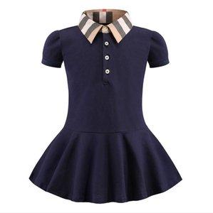 2020 New Baby Girls Princess Dresses Summer Kids Lapel Dress Children Cotton Short Sleeve Dress 2-8years Girls Clothes