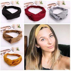 Bohemian Solide Stirnband Elastische Headwear Kopf Wrap Für Frauen Gilrs Haarschmuck Gestreiften Haarbänder Mix Farben