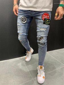 Patches Jeans Male Stretch Panelled dünne Bleistift-Hosen Mode Homme Street Style Jeans Herren Designer-Loch