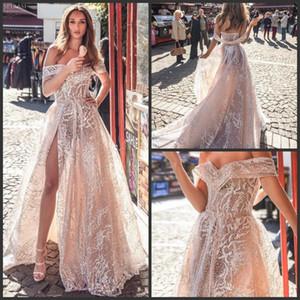 Nouvelle Dalia Champagne Dimitrius de mariée sirène Robes Encolure dentelle Robes de mariée Cuisse Slit Backless Illusion plage robe de mariée sur mesure