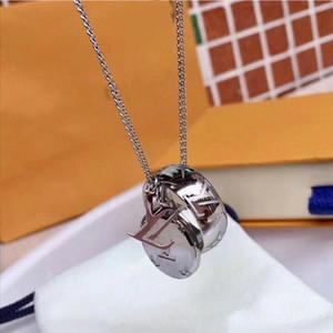 2020 Großhandelsgold überzogene doppelte Ringe Anhänger HalsketteChoker Edelstahl zwei Kreis-Ring-Halskette Schmucksachen für Frauen E1